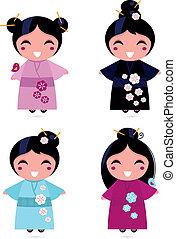 carino, bianco, set, isolato, geisha