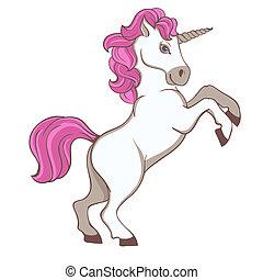 carino, bianco, unicorno, con, rosa, coda, e, criniera