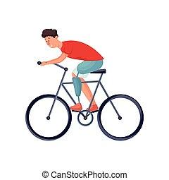 carino, bicicletta, ragazzo, gamba, giovane, protesico, sentiero per cavalcate