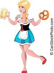 carino, biondo, ragazza, con, birra
