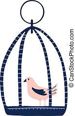 carino, birdcage, piccolo, mano, disegnato, cartone animato, uccello