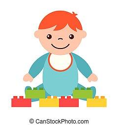 carino, blocchi giocattolo, ragazzo sedendo, bambino