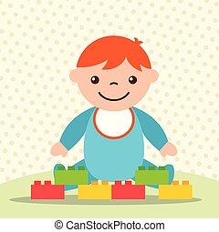 carino, blocchi, ragazzo, giocattoli, mattone, bambino primi passi