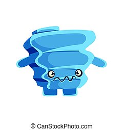 carino, blu, sospettoso, roccia, element., cartone animato,...