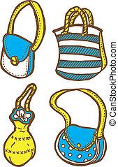 carino, borse, scarabocchiare