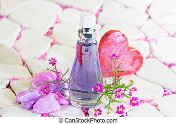 carino, bottiglia, profumo
