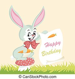 carino, buon compleanno, coniglietto, scheda