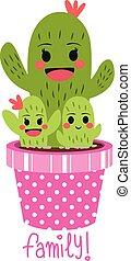 carino, cactus, famiglia