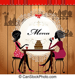 carino, caffè, disegno, scheda, menu
