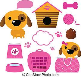 carino, cane, accessori, collezione, isolato, bianco