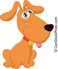 carino, cane, cartone animato, seduta