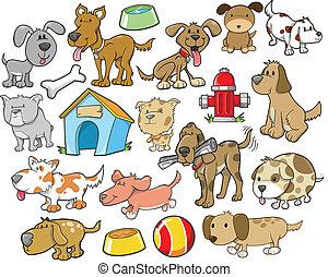 carino, cane, disegni elementi, vettore, set