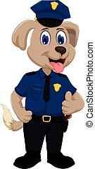 carino, cane poliziotto, cartone animato, pollice