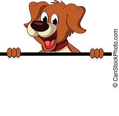 carino, cane, segno, presa a terra, vuoto, cartone animato