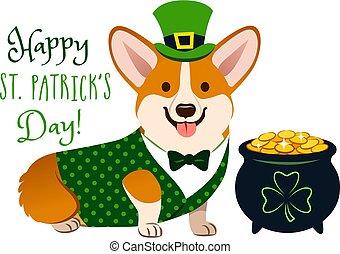 """carino, canottiera, costume:, folclore, cravatta, vaso, cima, irlandese, trifoglio, monete, oro, st., vacanza, pieno, gallese, segno., text., theme., cappello, day!"""", giorno, cane, arco, verde, """"happy, corgi, patrick's"""