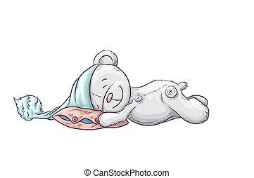 carino, cap., sonnolento, cartone animato, orso