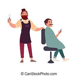 carino, capelli, suo, sorridente, sedia, parrucchiere, isolato, fondo., cliente, presa a terra, bianco, uomo, barbuto, smartphone, colorito, seduta, taglio, cartone animato, barbershop., illustration., vettore, maschio