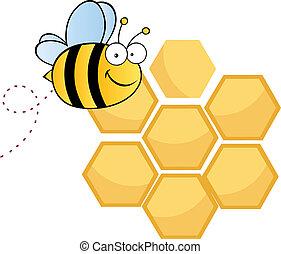 carino, carattere, cartone animato, ape