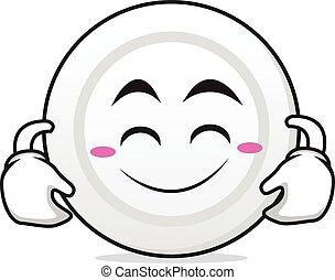 carino, carattere, cartone animato, sorriso, piastra