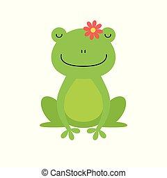 carino, carattere, isolato, rana, sfondo verde, bianco, cartone animato