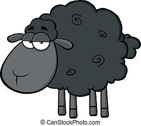 carino, carattere, sheep, nero
