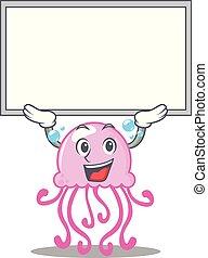 carino, carattere, su, asse, cartone animato, medusa