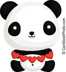 carino, carta, panda, presa a terra, cuore