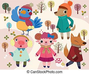 carino, cartone animato, animale