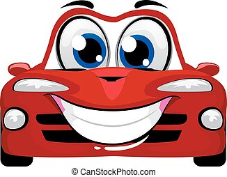 carino, cartone animato, automobile, mascotte