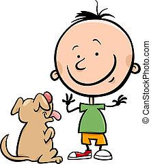 carino, cartone animato, cane, illustrazione, ragazzo