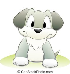 carino, cartone animato, cane