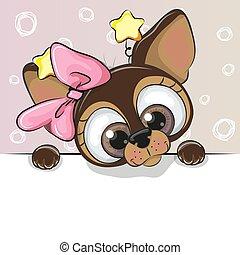 carino, cartone animato, cane, scheda, augurio