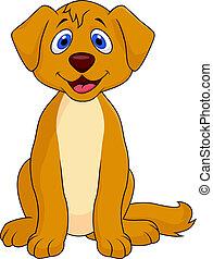 carino, cartone animato, cane, seduta