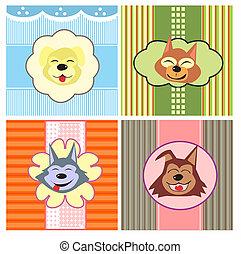 carino, cartone animato, cani