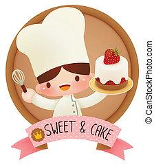 carino, cartone animato, chef