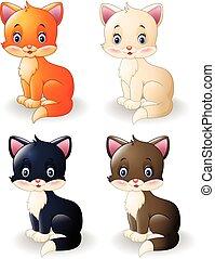 carino, cartone animato, collezione, gatto