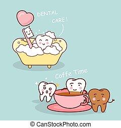 carino, cartone animato, dente