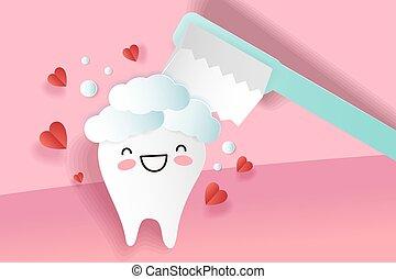 carino, cartone animato, denti