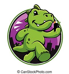 carino, cartone animato, dinosauro, verde