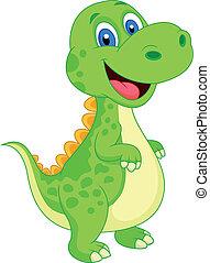 carino, cartone animato, dinosauro