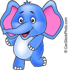 carino, cartone animato, elefante