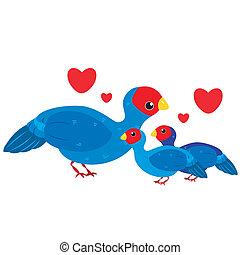 carino, cartone animato, famiglia, uccello