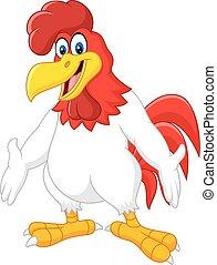 carino, cartone animato, gallo
