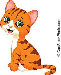 carino, cartone animato, gatto