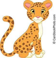 carino, cartone animato, ghepardo
