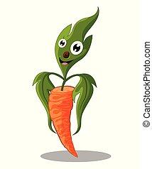 carino, cartone animato, -, isolato, illustrazione, vettore, fondo, verdura, bianco, carota