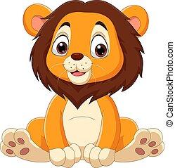 carino, cartone animato, leone, bambino sedendo