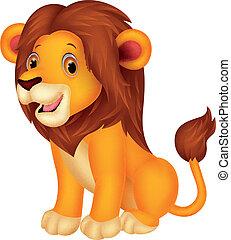 carino, cartone animato, leone, seduta