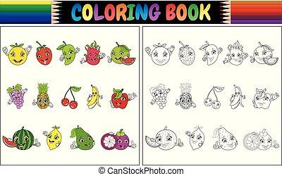 carino, cartone animato, libro colorante, frutte