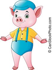 carino, cartone animato, maiale